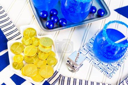 Table set  for Hanukkah