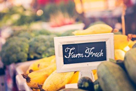 Fresh organic produce on sale