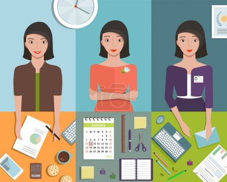 Illustration pour Pretty girl working in office flat style vector illustration. - image libre de droit