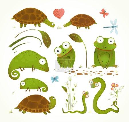 Illustration pour Feuilles d'herbe colorées grenouilles enfantin tortues serpents lézards. Illustration vectorielle. - image libre de droit