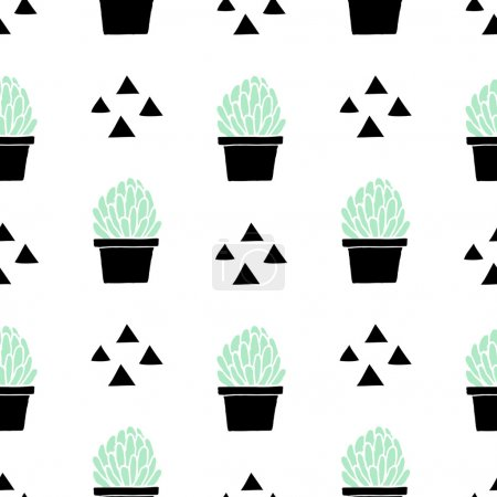 Photo for Hand drawn seamless repeat pattern with triangle shapes and succulent plants in mint green and black isolated on white background. - Royalty Free Image