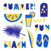 A set of tribal geometric summer design elements Decorative letters watermelon ice cream and other summer symbols in blue and yellow isolated on white background Perfect for creating summer themed posters advertising wall art t-shirt designs