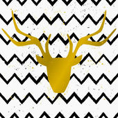 Golden Deer Head on Chevron Background