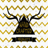 Antlers and Triangle Chevron Pattern Label Design