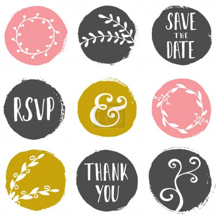 Illustration for A set of 9 hand drawn paint circles with wedding decorative elements isolated on white. - Royalty Free Image