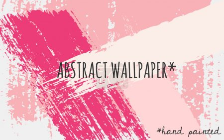 Illustration for Hand drawn brush strokes wallpaper design. Pastel pink, fucsia and white color palette. - Royalty Free Image