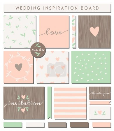 Illustration for A set of wedding invitation templates, seamless patterns, ribbons, cards and stickers isolated on white. Pastel pink, mint green, brown and white color palette. Wedding inspiration board designs. - Royalty Free Image