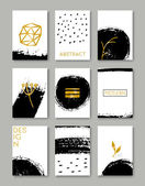 A set of hand drawn style greeting card templates in black white and golden Abstract brush strokes ink doodles and floral element pattern designs with copy space