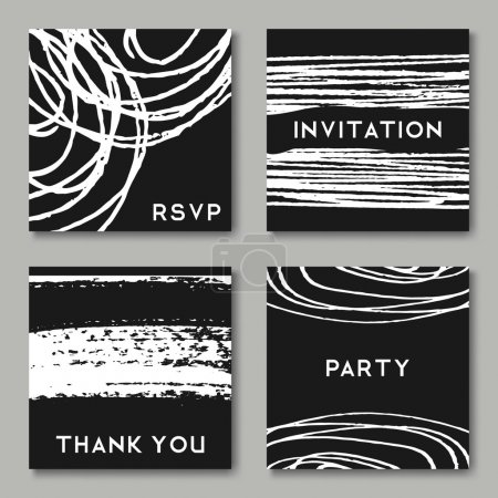Illustration for A set of hand drawn style greeting card templates in black and white. Abstract brush strokes, ink doodles and floral element pattern designs with copy space. - Royalty Free Image