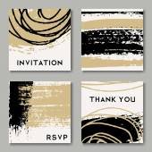 A set of hand drawn style greeting card templates in black white and golden Abstract brush strokes and ink doodle pattern designs with copy space
