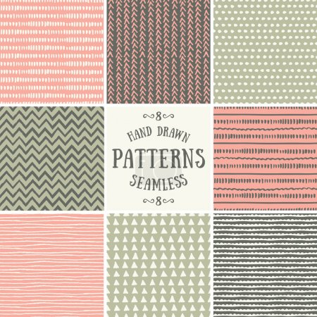 Illustration for A set of hand drawn style abstract seamless patterns. Tiling repeat backgrounds collection in pastel pink, green and brown. - Royalty Free Image