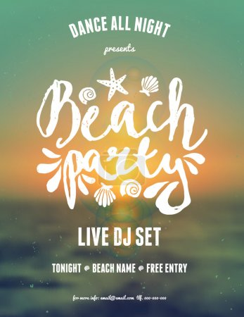 Illustration for Typographic beach party, music festival flyer design. Hand lettered text in white on a blurred sunset, sunrise background. - Royalty Free Image