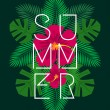 Hibiscus flowers and palm tree leaves exotic summe...