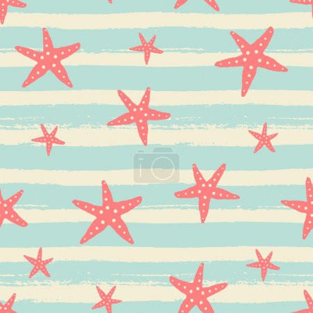 Hand Drawn Starfish Seamless Pattern