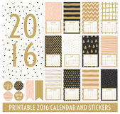 Twelve month 2016 calendar template Hand drawn patterns in black gold pastel pink and cream Matching round stickers and ribbons