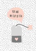 Cute and modern St Valentine's Day greeting card template Tea bag and speech bubble dots texture background black white taupe and pastel pink color palette Message