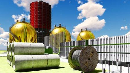 Photo pour Construction de bâtiments de centrales nucléaires - image libre de droit