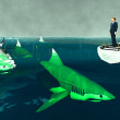 Determined businessman surrounded by sharks...