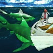 Businessman surrounded by sharks calling for help ...