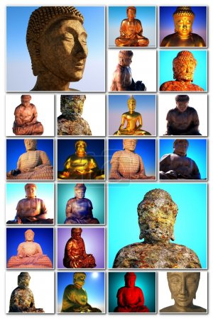 Photo for Buddha in many photographs on collage - Royalty Free Image