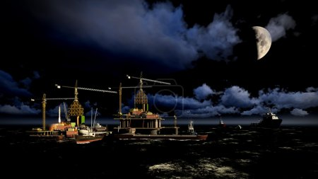 Photo pour Plate-forme de plate-forme pétrolière la nuit - image libre de droit