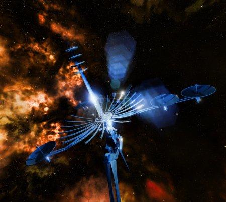 Photo pour Radiotélescope visant le ciel nocturne - image libre de droit