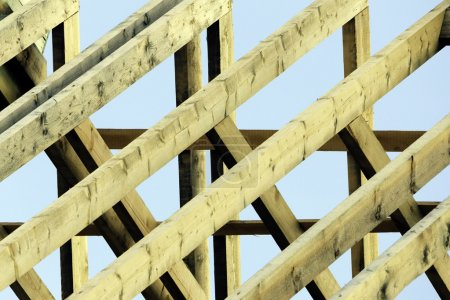 Wooden rafters on new house