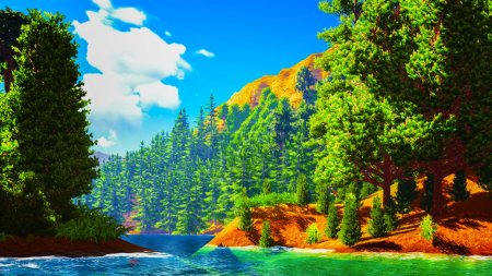 Photo for Forested shore over the ocean - Royalty Free Image