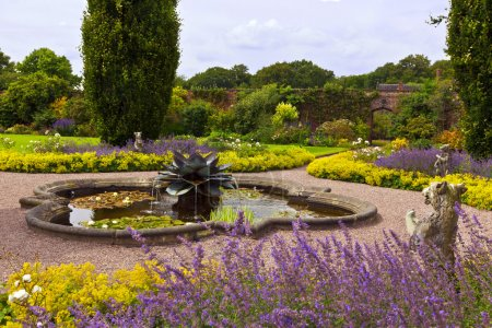 Landscaped garden with a fountain.