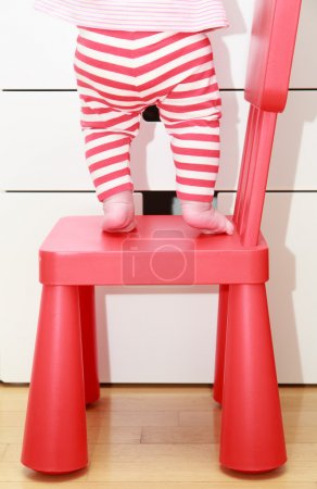 Photo for Child feet on baby chair, concept of danger, risk and parent responsibility - Royalty Free Image