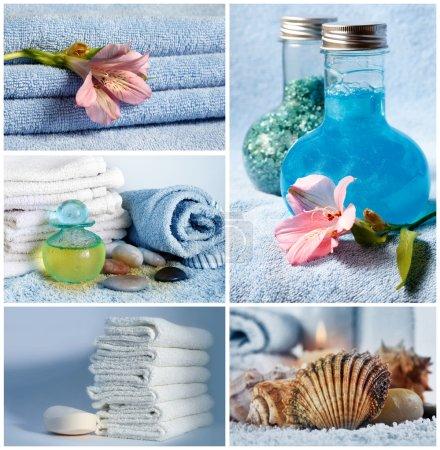 Photo pour Spa Collage Composition de 5 photos de spa avec des bougies parfumées. Serviettes douces et aromathérapie - image libre de droit