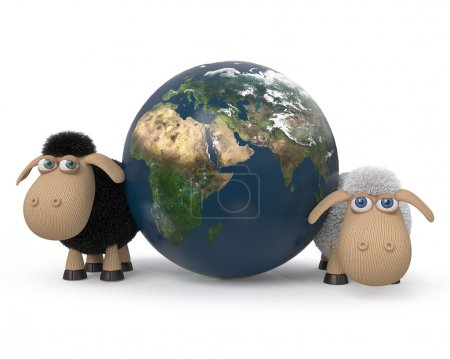 3d illustration of the lambs standing near the earth