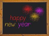 šťastný nový rok na malé tabule s dřevěným rámem