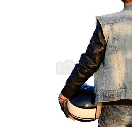 biker with helmet on white background