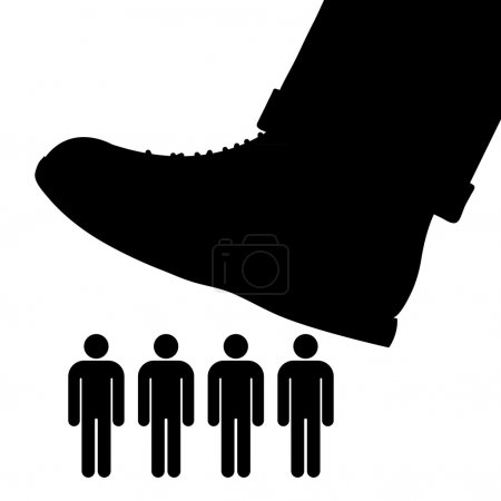 Black cartoon vector silhouette of a large foot ab...