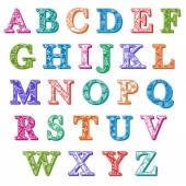 Complete set colorful patterned alphabet letters
