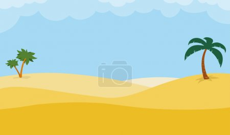 Desert background with palm trees