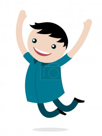 Illustration for Excited happy young boy jumping for joy smiling as he celebrates his freedom leaping into the air with his arms raised, vector cartoon illustration - Royalty Free Image