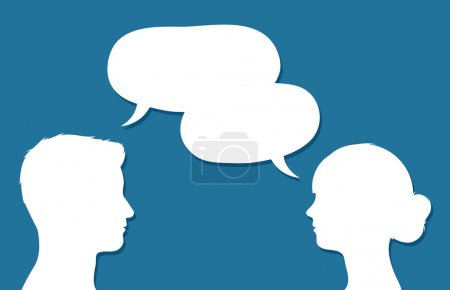 Male and female heads in conversation