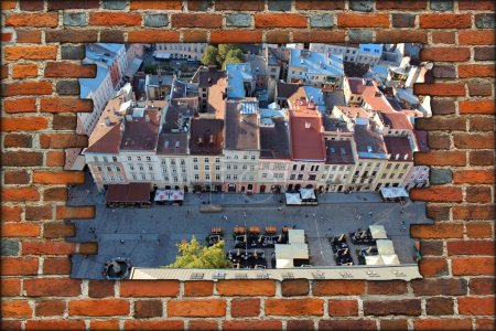 Brick wall and view to the house-tops in Lvov city