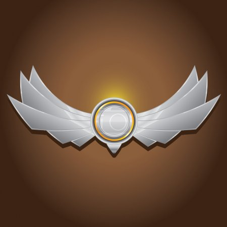 Illustration for Vector metallic automotive, motorcycle badge with wings. Signs and labels. - Royalty Free Image
