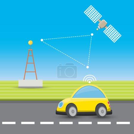 self driving car concept cartoon infographic.
