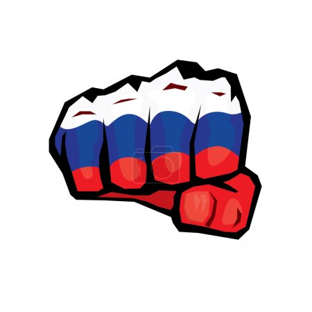 vector fist icon. fist colored in Russian flag