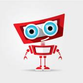 Cartoon Character Cute red Robot Isolated on Grey Gradient
