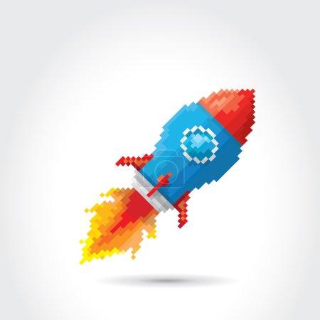 Vector flat pixel art rocket on white background. ...