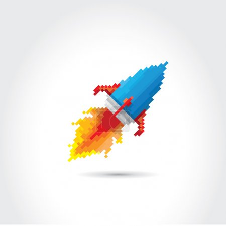 vector flat pixel rocket on white background.