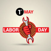 Poster banner or flyer design with stylish text 1st May Labor Day and illustration of human hand fist holding wrench on abstract background
