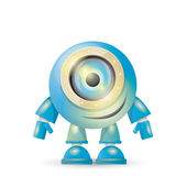 vector blue cartoon robot isolated on white