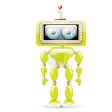 vector green cartoon robot isolated on white