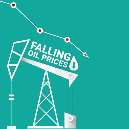 Illustration for Oil price falling down graph illustration. vector illustration background - Royalty Free Image